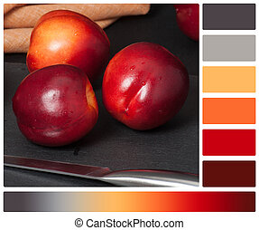 Fresh Nectarine Fruits On Slate Stone. Natural Linen Napkin. Palette With Complimentary Colour Swatches
