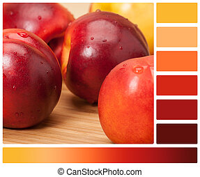 Fresh Nectarine Fruits On Wooden Board. Natural Linen Napkin. Palette With Complimentary Colour Swatches
