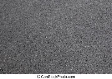 freshly laid black tar asphalt pavement - a new sidewalk surface made of bitumen.