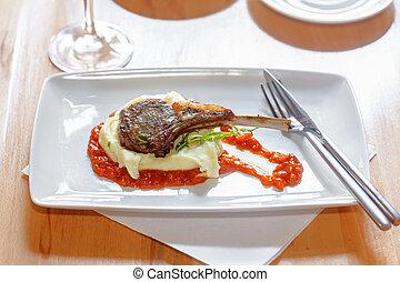Fresh New Zealand lamb rib with mashed potatoes