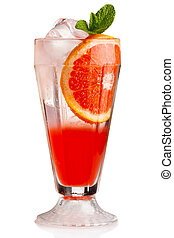 Fresh nonalcoholic cocktail with grapefruit and green mint...