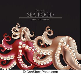 Fresh octopus Vector realistic. 3d detailed illustrations
