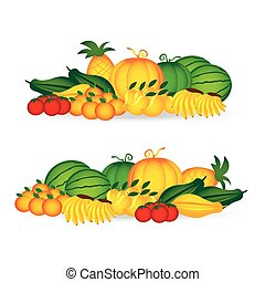 fresh of collection set fruits on white background vector