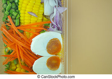Fresh of fruit and vegetables salad in plastic box