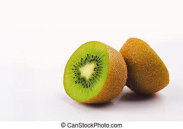 Fresh of kiwi fruit on white background.