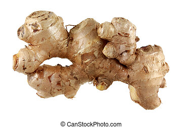Fresh Old Ginger rhizome root, isolated on a white ...