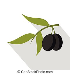 Fresh olive tree branch with olives icon