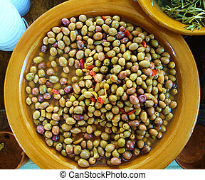 Fresh olives sold at a market