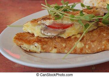 Fresh Omelette - freshly made breakfast omelette with toast