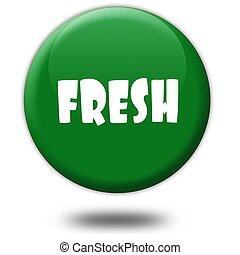 FRESH on green 3d button.