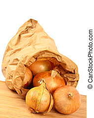 Fresh onion in a paper bag
