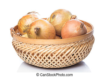 Fresh onion in basket