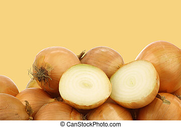 fresh onions and a cut one