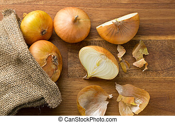 fresh onions in jute sack