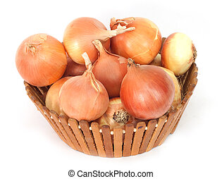 fresh onions on a white background