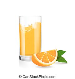 Fresh orange and glass with juice. Realistic vector illustration