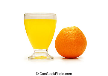 Fresh orange and juice isolated on white