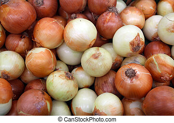 Fresh Orange and White Onions Sold in the Market