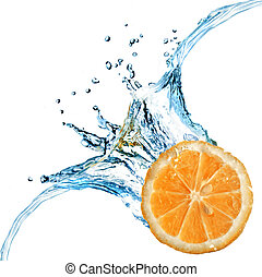 Fresh orange dropped into water with splash isolated on white