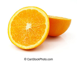 fresh orange fruit cut isolated on white