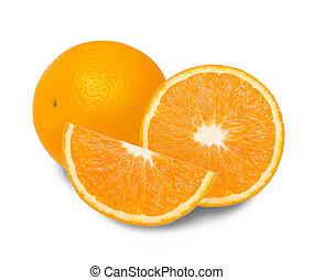 Fresh orange fruit slice on white background