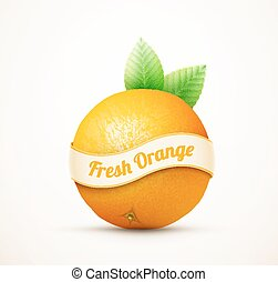 Fresh orange fruit with green leaves