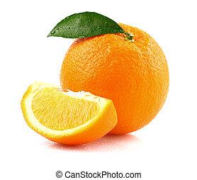Fresh orange fruit with leaf