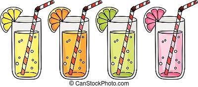Fresh orange, grapefruit, lemon and lime juice citrus fruits