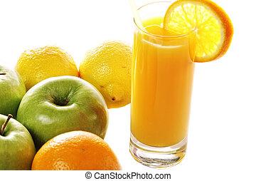 Fresh orange juice and fruits