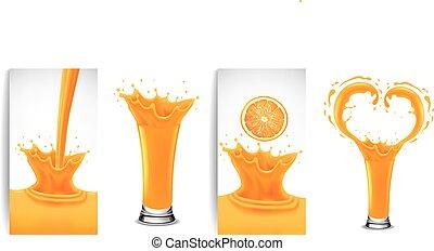 fresh orange juice and splash creating heart