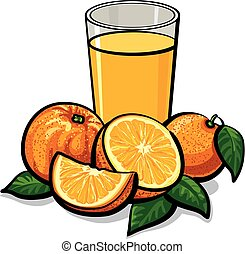 fresh orange juice - illustration of glass of fresh orange...