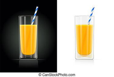 Fresh orange juice glass with pipe