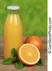 Fresh orange juice in a bottle