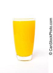 Fresh orange juice in glass isolated on white background