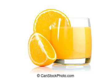 fresh orange juice in glass on white background
