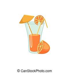 Fresh orange juice in tall glass with straw