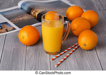 Fresh orange juice in the glass