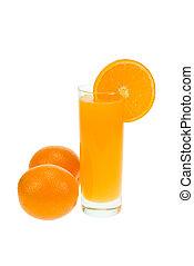 fresh orange juice isolated on white