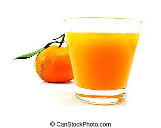 fresh orange juice on white background