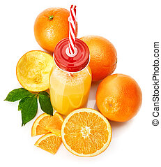 Fresh orange juice with fruit and green
