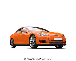 Fresh orange modern electric sports car - studio shot