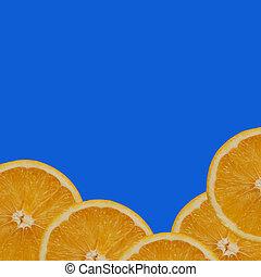 orange on blue background.