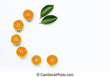 Fresh orange on white background.