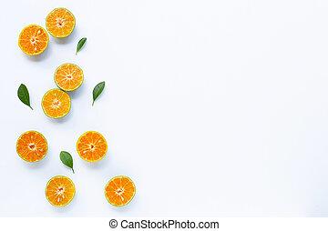 Fresh orange on white.