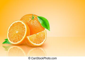 Fresh orange on yellow gradient background