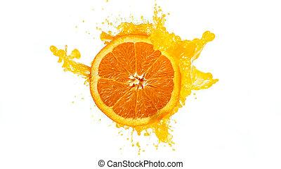 Fresh Orange Slice with Splashing Juice