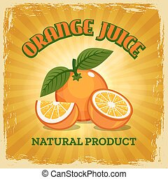 Fresh orange vintage poster
