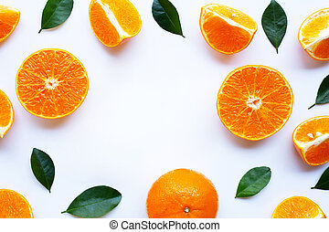 Fresh orange with green leaves isolated on white background.