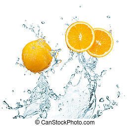 fresh orange with water splash on white