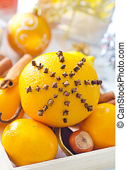 Fresh oranges and cinnamon for christmas